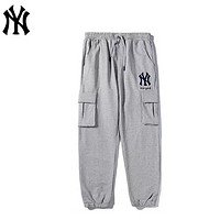 NY Fashion New Embroidery Letter Women Men Sports Leisure Pants Gray