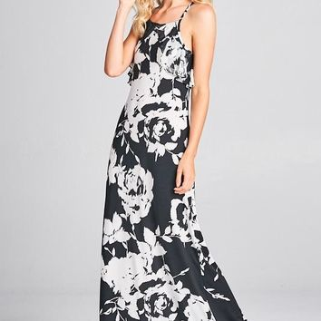 Ruffle Detail Floral Maxi Dress - Black and White