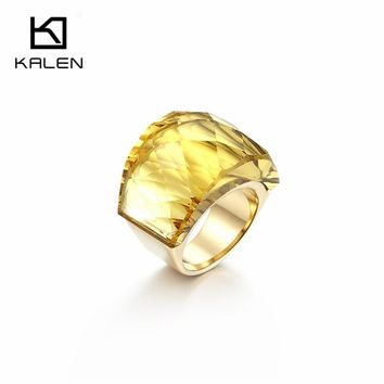 Kalen High Polished Women's Stainless Steel Gold Color Yellow Glass Cut Stone 6mm Wide Ring Fit Christmas Party Accessories 2018