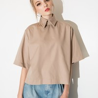Khaki High Collar Shirt