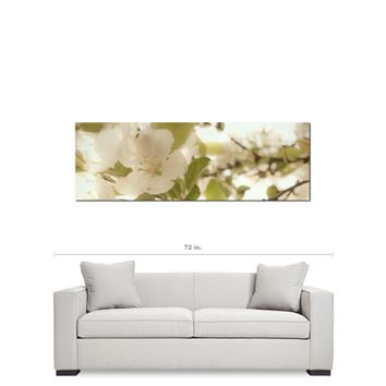 Cottage Chic Decor - White Flowers Canvas - Panoramic Canvas - White and Green - Large Canvas - Large Floral Art - 20 x 60 Canvas