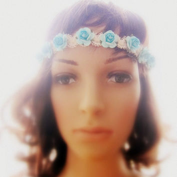 Turquoise Flower Headband Bohemian Rose Garland Lana Del Rey Crown Cream Crochet Lace Hairband Woodland Wedding Bridesmaids Gift Shabby Chic