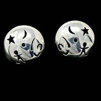 Sterling Silver Taxco Button Earrings Cut Out Star Moon and Symbols Posts for Pierced Ears Hallmarked 925 and Signed