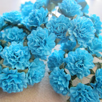"""30  Handmade Mulberry Paper Flowers, 0.75"""" blue Wedding Roses, romantic roses, bouquet roses, scrapbooking decoration, flower crafting"""
