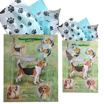 Dog Breed Gift Bags Set of Two with Tissue Paper (Beagle)