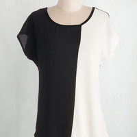 Colorblocking Mid-length Short Sleeves Opposites Impact Top