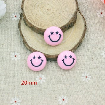15pcs/lot  mix colors resin smiling face  in solid color  for kids hair phonecase DIY resin cabochons accessories