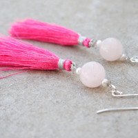 Candy Chinoiserie - Pink tassel earrings Rose quartz seed pearl sparkly jewellery Cute pretty girly teen teenage girl Chinese Asian
