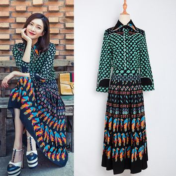 S-4XL Top Fashion Women's Summer Vintage Bohemian Outfit Printed Blouse Long Skirt Runway 2 Piece Set Retro Twin Set tracksuit