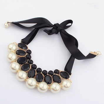 Pearl Choker Pendant Chain Necklace