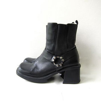 Vintage black leather biker boots. Harness ankle boots. Chunky leather punk rock boots. womens size 9