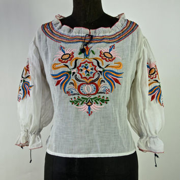 Vintage 30's Top Sweet Bohemian Sheer Organdy Cotton 1930's Multi Colored Embroidered Blouse