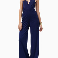 Navy Plunge Strappy Backless Jumpsuit