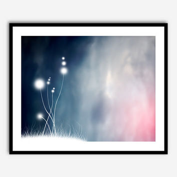 8x10 Landscape Digital Painting Inspired Abstract Gradient Ombre Background Shades of Blue Pink White Whimsical Painting