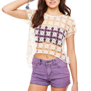 Liv High-Rise Shorts in Purple Acid
