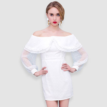 Casual White Mesh Off Shoulder Cape Top Long Sleeve Mini Dress