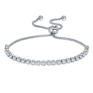 Round Cut Micro-zircon Adjustable Slider Tennis Bracelet Valentine's Day Gift ,Charm Friendship Bracelet for Girls