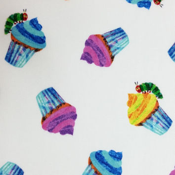 by the yard HAPPY BIRTHDAY Very Hungry Caterpillar Swirl Cupcakes on White Bright Color Cotton Excellent Fabric for Creative Genius Projects