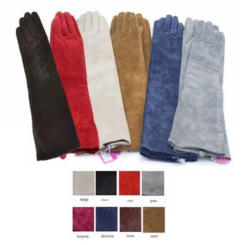 custom made 30cm to 80cm long suede leather long leather evening long gloves multi colors