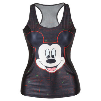 EAST KNITTING New Women t-shirt Mickey Mouse Tank top harajuku Vest punk 3D Print camisole Minnie Crop Tops Alternative Measures