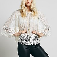 Free People Womens Secret Heart Embroidered Top