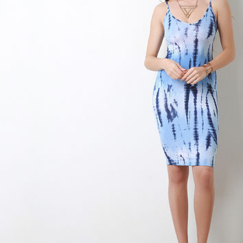 Tie Dye V-Neck Crisscross Back Midi Dress