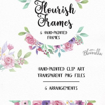 6 Watercolour Frame Clipart - Pretty Pink Flourish Hand Painted Spring INSTANT DOWNLOAD PNGs Leaf Garlands Wreaths Flower Purple Digital