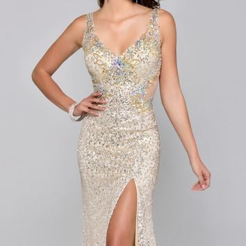 Sequined Slit Gown by Nina Canacci