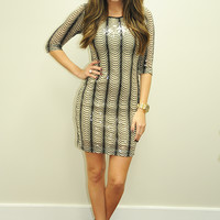 Dripping In Gold Dress: Black/Ivory