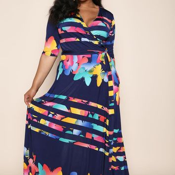 Butterfly Girl Print Plus Size Maxi Dress