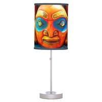 Cute, fun wild fierce carved wood totem face photo desk lamp