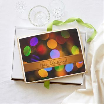 Multicolored Christmas lights. Add text or name. Jumbo Shortbread Cookie