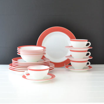 Vintage Dinnerware Set - Pyrex Pink Flamingo - Mid Century Dishes - Starter Set - Glass Dishes - 20 Piece Set