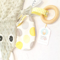Neutral Mini Baby Elephant Tag Blanket Lovey Organic Wood Ring Toy