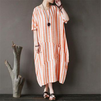 BUYKUD Cotton Linen Summer Orange Stripe Long Dress High Quality Loose Round Neck Short Sleeve Casual Maxi Dresses With Pocket