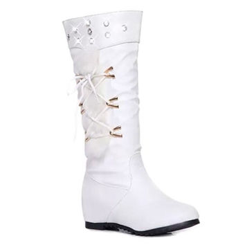 Rhinestone and Lace Up Design Mid-Calf Boots