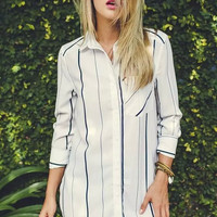 White Vertical Stripe Sleeve Button Collared Shirt Dress