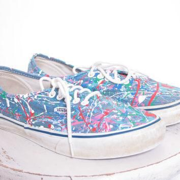 Custom Made Splatter Painted Vintage Vans Boat Shoe Sneakers Adult Size 7 1/2