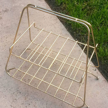 Mid Century Modern Magazine Rack Two Tier Shelves Book Rack Blanket Storage Living Room Decor Bathroom Shelf Towel Storage Eames Era Brass