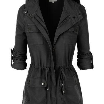 LE3NO Womens Lightweight Military Anorak Jacket with Hoodie