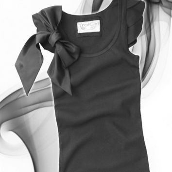 Black friday womans bow top black or gray retro romantic by tratgirl valentino inspiration
