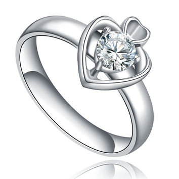 Stainless Steel Cubic Zirconia Centered Open Heart Ring