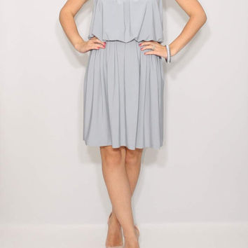 Short dress Light gray dress Bridesmaid Dress Summer dress party dress