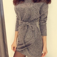 Light Gray Long Sleeve Mini Dress