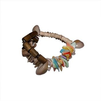 Pastel and Brown Shells, Brown and White Wood Double Bracelet