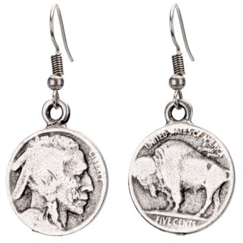Buffalo Head Coin Earrings