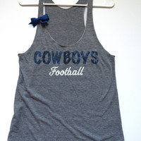 SALE - LARGE - COWBOYS FOOTBALL TANK - Racerback Tank - Ruffles with Love - Womens Fitness - Workout Clothing - Workout Shirts with Sayings