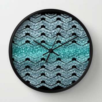 Pattern teal sparkles Wall Clock by VanessaGF