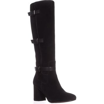 Franco Sarto Knoll Knee-High Boots, Black Suede, 8 US / 38 EU