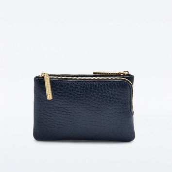 FLYNN Metallic Leather Purse in Black and Navy - Urban Outfitters